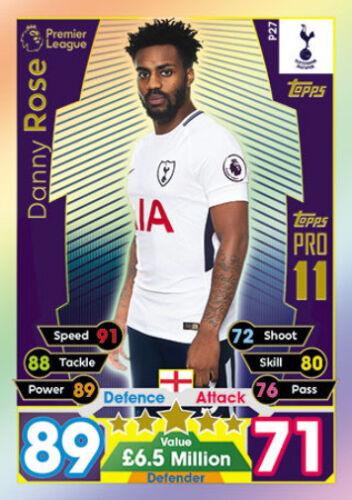 Tottenham Hotspur Danny Rose Match Attax 2017//18 Pro 11 tarjeta Como Nuevo P27