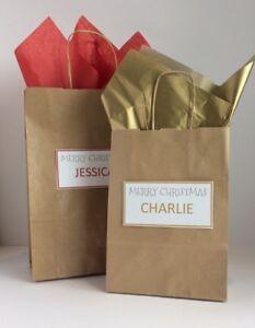 1//5//10X Paper Gift Bags Elf Santa Claus Kraft Packs Christmas Party Candy Box v