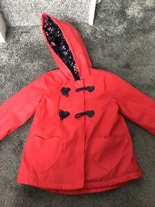 66363e279f36e Girls Coat Mac 2-3 Showerproof Hood Fleece Lined George Asda   eBay