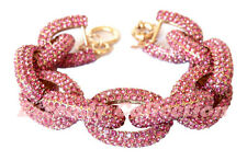 Clearance - Chunky Classy Pave Rose Link Chain Pink Bracelet w/1,500+ Crystals