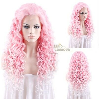 """Long Spiral Curly 26"""" Pink with Light Blonde Tips Lace Front Wig Heat Resisitant"""