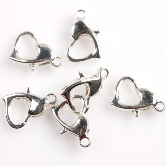 100x 161704 Newest Hot Sell Plated Silver Tone Heart Lobster Clasps DIY Findings