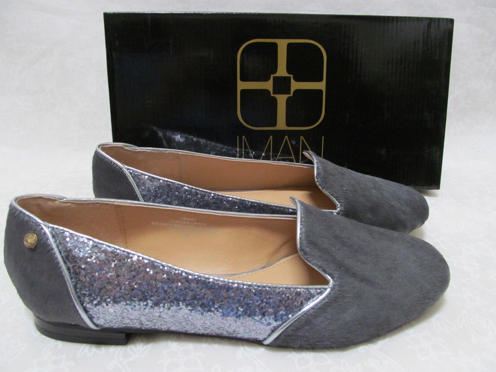 IMAN GRAY LEATHER HAIRCALF & GLITTER Schuhe SIZE 9 1/2 W - NEU