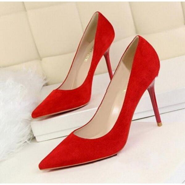 Pumps Schuhe Elegant Rot 10 cm Stilett Leder Kunststoff Cw195