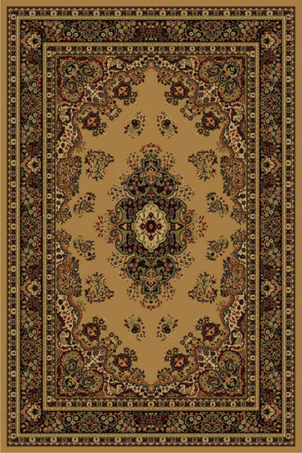 LA Rugs Beige Traditional-European Medallion Curves Area Rug Bordered 1296//19