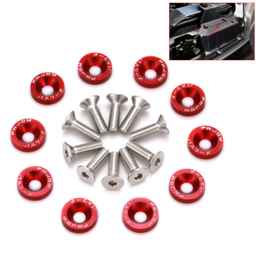 Lots 40Pcs RED Aluminum Bumper//Fender//Engine Bay Screw//Washer//Bolt Dress Up Kit