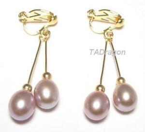 Image Is Loading Aaa Genuine Purple Pearl 18k Ygp Double Dangle