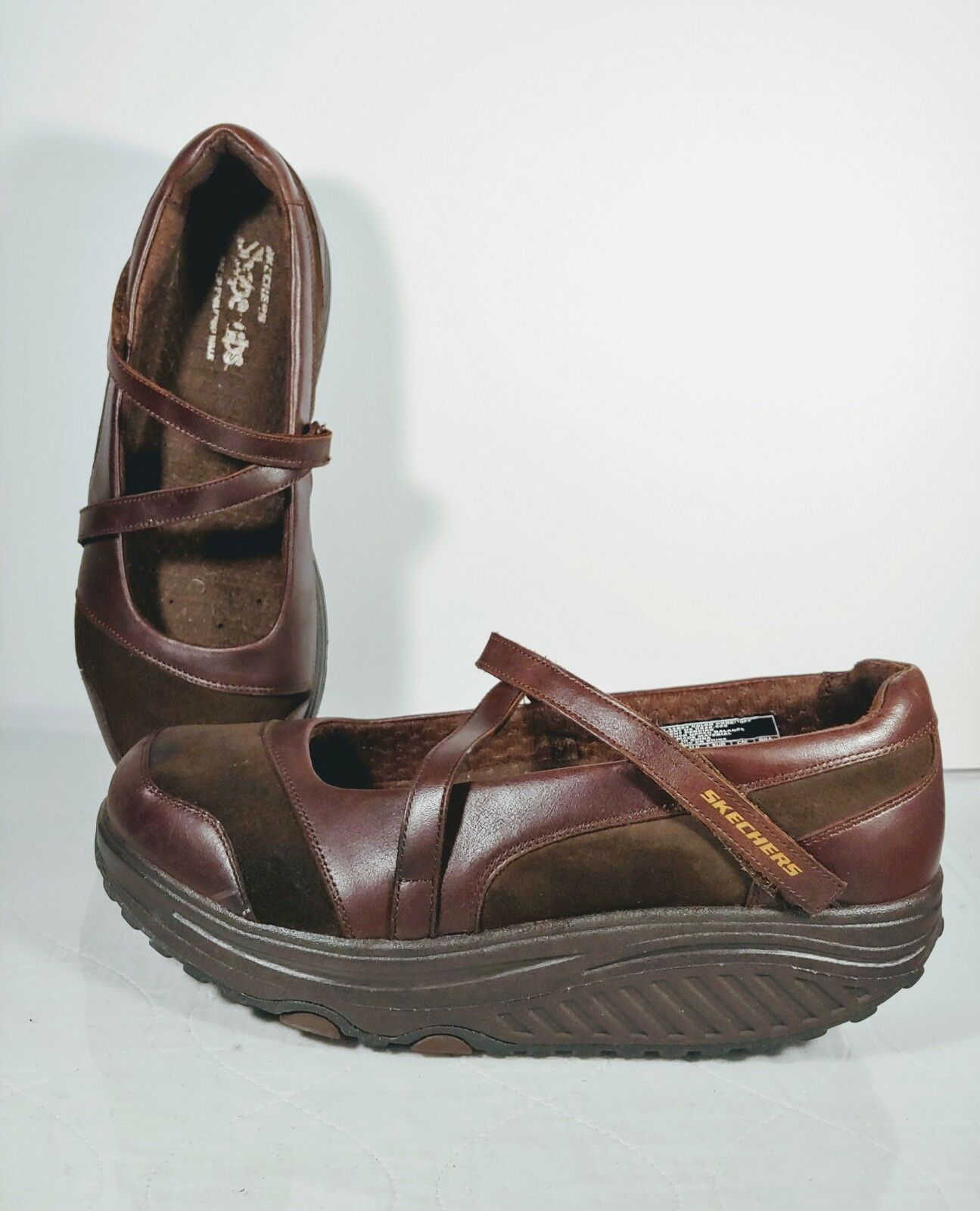 Skechers Shape Ups Mary Jane Women's Brown Leather Toning Walking shoes Sz 10
