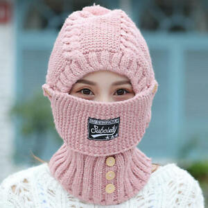 Women-Thicken-Knit-Hat-Scarf-Face-Mask-Set-Vintage-Earmuffs-Beanie-Cap-Windproof