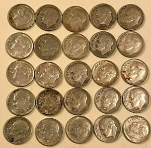 1946-1964-10C-ROOSEVELT-DIMES-LOT-OF-25-2-OZ-OF-SILVER-COINAGE