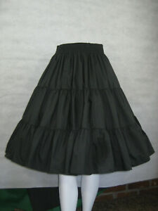 Square-Dance-Skirt-Small-Black-3-Tier-SQUARE-UP-FASHIONS-2060-S-Polyester-Cotton