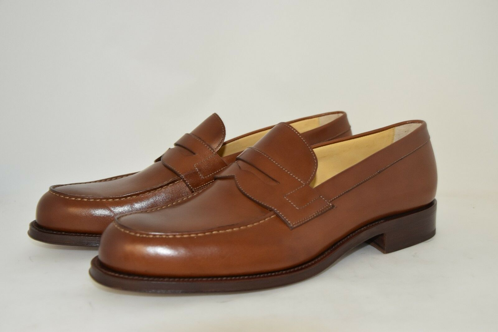 MAN-11eu-12us-PENNY LOAFER-MOCASSINO-COGNAC CALF-LEATHER SOLE-SUOLA CUOIO