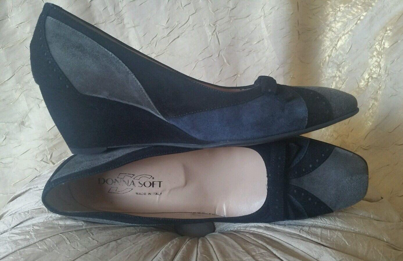 damen SOFT ITALY ITALY ITALY  270 NAVY Blau grau schwarz TRI-Farbe SUEDE WEDGES PUMPS 39 8.5 0f8be3