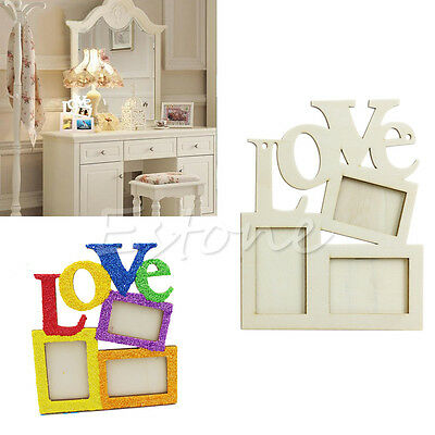 New DIY Durable Hollow Love Wooden Photo Picture Frame Rahmen Home Decor