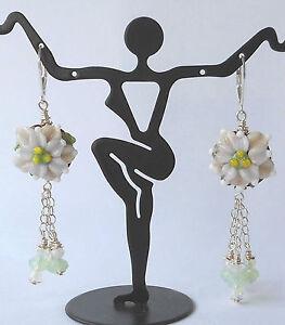 WINTER-BLOOMS-Artisan-Lampwork-Flowers-Poinsettias-Crystals-Earrings