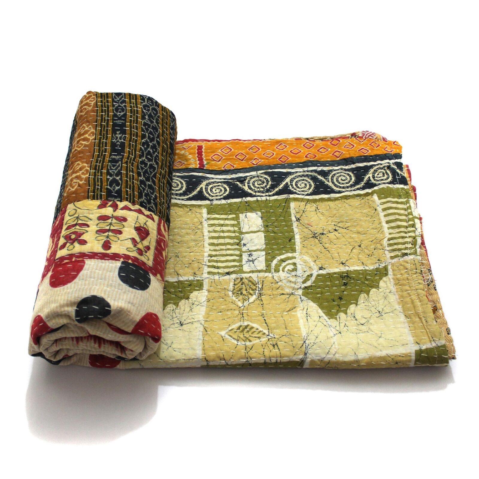 Vintage Kantha Quilt Indian Handmade Cotton Bedspread Art Decor Blanket Throw