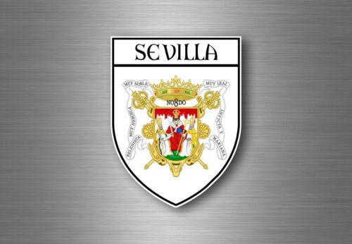 Sticker decal souvenir car coat of arms shield city flag spain sevilla