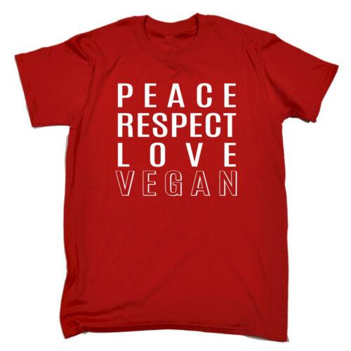 La paix respect Love Vegan T-shirt VEGAN VÉGÉTARIEN Hippie Drôle Cadeau Anniversaire