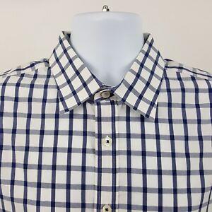 Charles-Tyrwhitt-Peached-Poplin-Blue-Check-L-S-Casual-Button-Shirt-Sz-Large-L