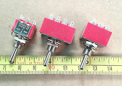 Silver Contacts DPDT CO Center Off 3A 250V Centre Spring Bias Toggle Switch