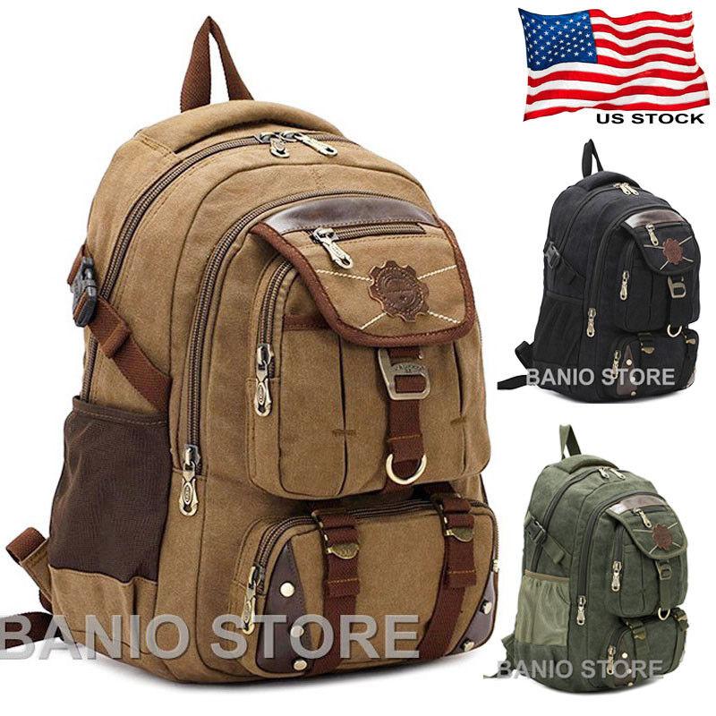 KAUKKO Men Canvas Backpack Rucksack Bag Camping Travel School Satchel ... - s l1600