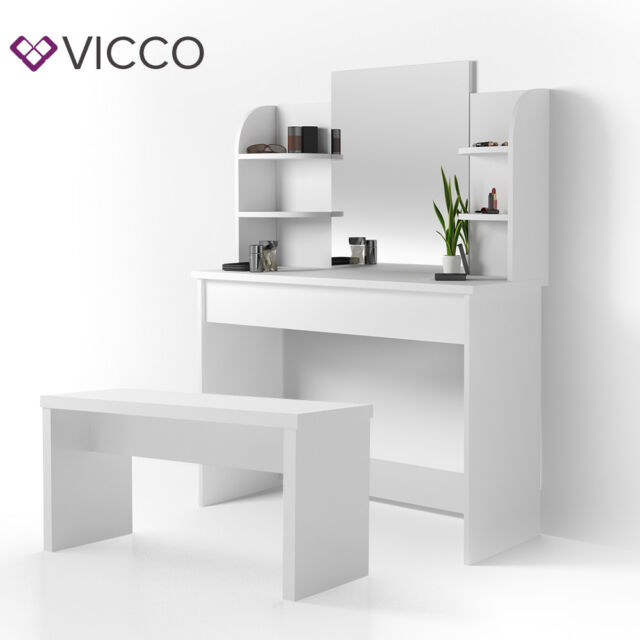 Vicco Dressing Table Charlotte 142x108cm White Makeup Desk Dresser Bench