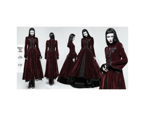 Punk Rave Cappotto Abito Gothic Victorian Palace Swallow velluto ricami VELVET y-776