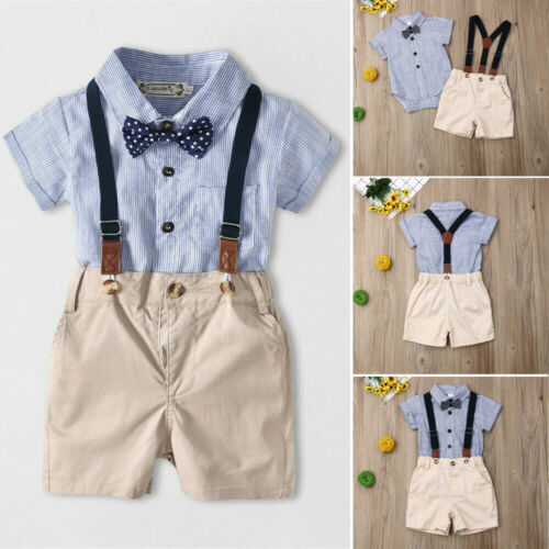 Newborn Kids Baby Boy Gentleman 2PCS Outfits Sets Romper Bib Pants Clothes #VH