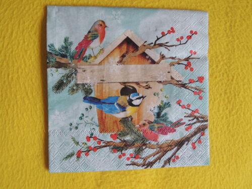 20 Servietten XMAS BIRD HOUSE Vögel Winter Weihnachten 1 Packung OVP Vogel Ast