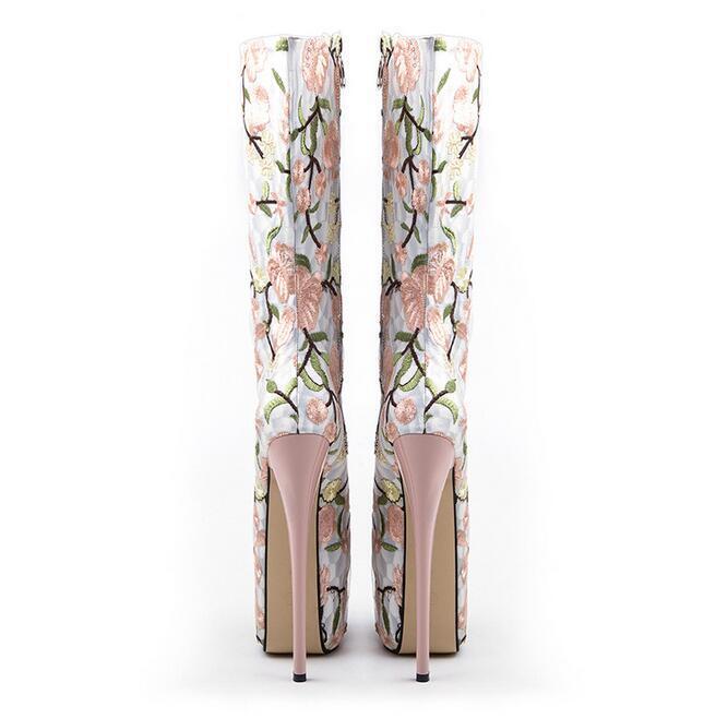 Womens Platform Peep Toe Flowers Stilettos Mid Calf Calf Calf Boots Party Wedding shoes 2ca170