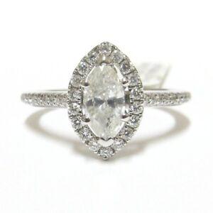 18k-Blanco-Oro-Halo-certificado-0-80-ct-marquesa-Cut-amp-RB-Diamante-Anillo
