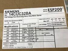 NEMA Magnetic Motor Starter Siemens 14CUC32BA With Esp200 Overload