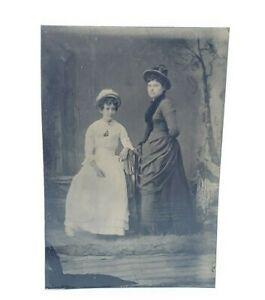 Antique-Victorian-Tintype-Photograph-Ladies-w-Hats-amp-Dresses-Fancy