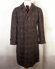 vtg 50s RARE Botany 500 gray Rayon Shadow Plaid Tweed Overcoat Suit Coat sz 40 S