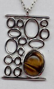 Edler-Anhaenger-mit-Tigerauge-925-Silber-Collier-Kette-echter-Edelsteinschmuck