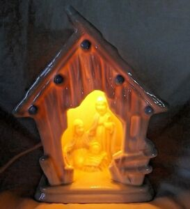 Lighted-Ceramic-Glass-Nativity-Scene-White-Blue-Jesus-Mary-Christmas-Manger