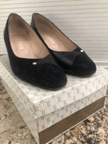 Gucci vintage black suede leather pumps shoes heel