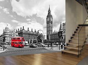details about red bus black white london big ben photo wallpaper wall mural giant wall decor