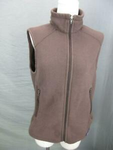 PATAGONIA-SIZE-L-WOMENS-BROWN-ATHLETIC-FULL-ZIP-SIDE-POCKETS-FLEECE-VEST-T764