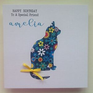 Image Is Loading PERSONALISED Handmade BIRTHDAY Card CAT Mum Sister Daughter