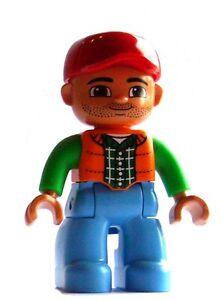 Lego-Duplo-Mann-mit-Bart-rote-Kappe-hellblaue-Beine-Shirt-in-gruen-orange-Neu