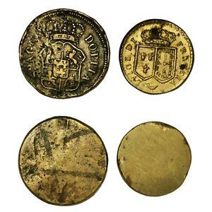 PESI-MONETARI-Francia-Spagna-Lotto-due-Pesi-monetari-del-Luigi-e-della-Doppia