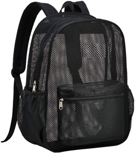 Heavy Duty Semi-Transparent Mesh Backpack, See Through College Student Backpack