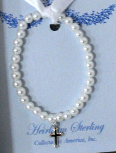 "Adorable Sterling Silver Cross Stretch Bracelet with Glass Pearls 5"" –12 to 24M"