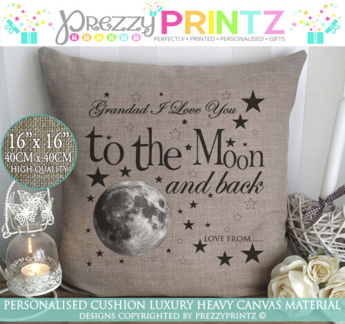 PERSONALISED I LOVE YOU TO THE MOON/&BACK CUSHION CHRISTMAS VALENTINE GIFT CANVAS