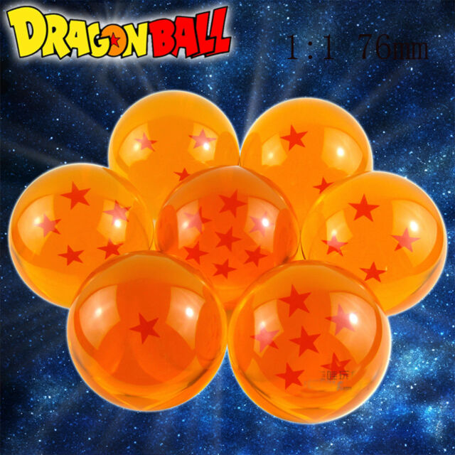 Extra Large DRAGON BALL Z Crystal Ball 1:1 Size 76mm Set of 7 Seven Stars In Box