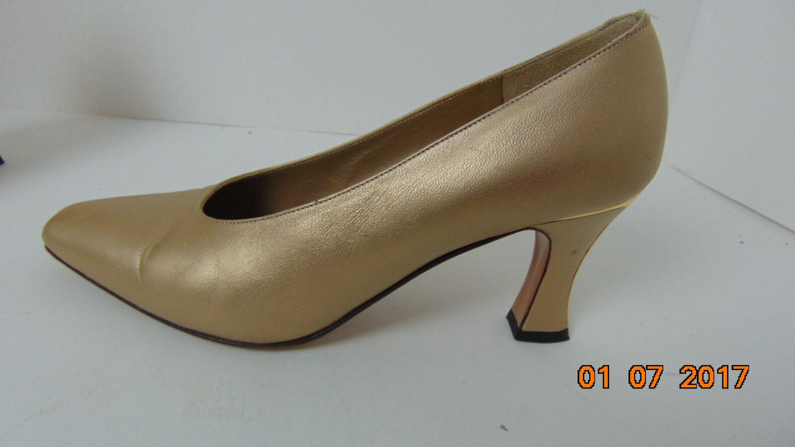 St. John Wheat Beige Métallique CUIR Escarpins T 6.5 B chaussures MADE IN ITALY