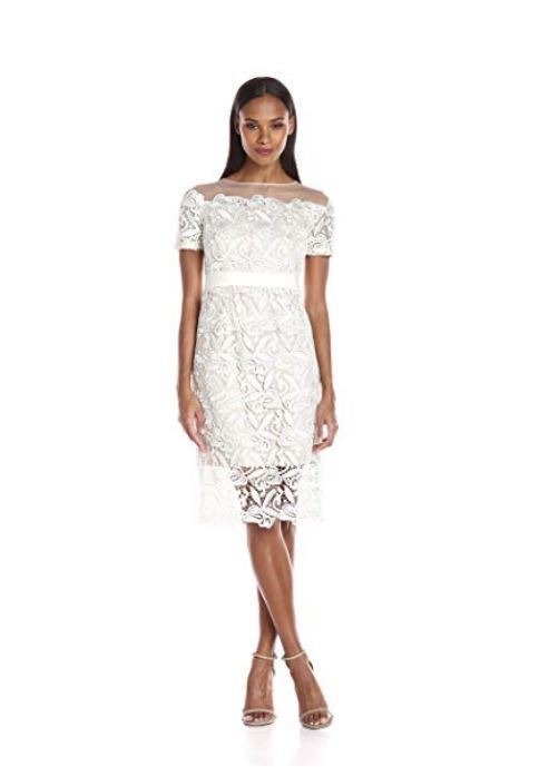 New NWT Jax Women's Short-Sleeve Lace and Mesh Sheath Dress Dress Dress Ivory Size 8 a29da2