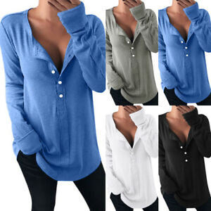 Womens-Shirt-Long-Sleeve-Tee-Blouse-Ladies-Plain-Buttons-Pullover-Loose-Tops