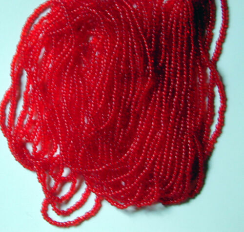"Poppy Red Vintage 110 Transparent Glass Seed Beads Long 20"" Hank 18bpi5531802"